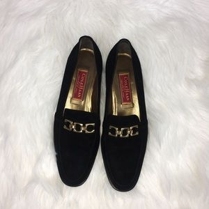Cole Haan Black Suede Buckle Loafers Size 7